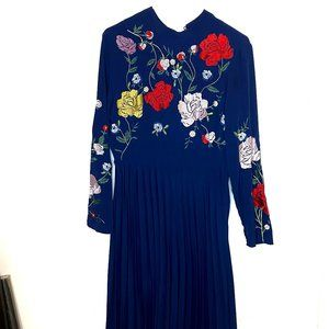 Navy and floral ASOS dress size US 6 100% polyeste